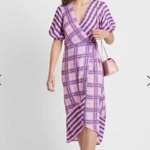 Miss Selfridge gingham mix print wrap midi dress
